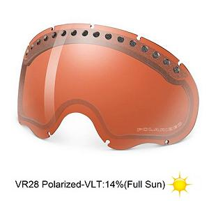 Snowboard Oakley A Frame VR28 Polarized Goggle Replacement Lens - The A Frame Replacement Lens provide 100% UV protection from harmful rays while reducing glare and offer a balanced light transmission for improved vision. The Polarized lenses are specially engineered to boost visual contrast in snowy conditions and enhance depth perception even further. Crafted from a dual vented pure Plutonite material that has unsurpassed impact protection with unbeatable clarity they have also been treated with a specially formulated permanent coating to resist fog buildup under any circumstances. The VR28 Polarized performs best under sunny and clear conditions with a 14% rate of transmission. . Race: No, Category: Replacement Goggle Lenses, OTG: No, Special Feature: None, Spherical Lens: Yes, Polarized: No, Photochromatic: No, Helmet Compatible: No, Spare Lens Included: No, Frame Size: Small/Medium, Lens Shape: Spherical, Lens Type: Polarized, Model Year: 2014, Product ID: 116869, Model Number: 02-287, GTIN: 0700285022871 - $69.91