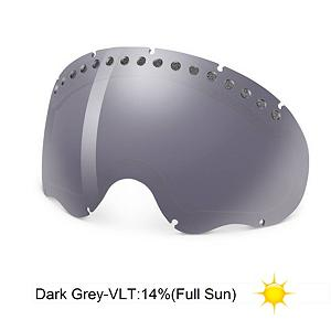 Snowboard Oakley A Frame Goggle Replacement Lens 2013 - The A Frame Replacement Lens provides 100% UV protection from harmful rays while reducing glare and offers a balanced light transmission for improved vision. They are made from a dual vented pure Plutonite material with unsurpassed impact protection and unbeatable clarity while having been treated with a specially formulated permanent coating to resist fog buildup under any circumstances. The Dark Grey performs best under full sun in clear conditions with a 17% rate of transmission. . Frame Size: Fits Most Faces, Lens Shape: Spherical, Lens Coating: n/a, Has Fan: No, Model Year: 2013, Product ID: 199269, Headphones Included: No - $45.00