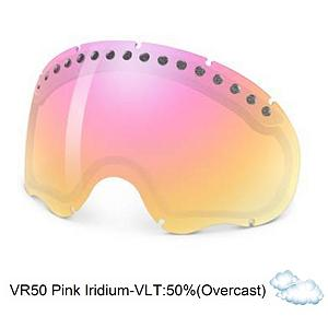Snowboard Oakley A Frame Goggle Replacement Lens 2014 - The A Frame Replacement Lens offers 100% UV protection from harmful rays while the Iridium coating reduces glare and offers a balanced light transmission for improved vision. They are made from a dual vented pure Plutonite material that also provides unsurpassed impact protection and unbeatable clarity while having been treated with a specially formulated permanent coating to resist fog buildup under any circumstances. The VR50 Pink Iridium performs best under partly sunny conditions or in overcast clouds with a 41% rate of transmission. . Category: Adult, Spherical Lens: Yes, Polarized: No, Photochromatic: No, Frame Size: Fits Most Faces, Lens Shape: Spherical, Lens Coating: n/a, Has Fan: No, Model Year: 2014, Product ID: 199270, Headphones Included: No - $75.00