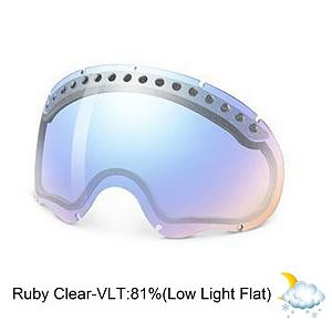 Snowboard Oakley A Frame Goggle Replacement Lens 2013 - The A Frame Replacement Lens provides 100% UV protection from harmful rays while reducing glare and offers a balanced light transmission for improved vision. They are made from a dual vented pure Plutonite material with unsurpassed impact protection and unbeatable clarity while having been treated with a specially formulated permanent coating to resist fog buildup under any circumstances. The Ruby Clear lens performs best in low light-flat conditions and has a 67% rate of transmission. . Race: No, Category: Adult, OTG: No, Comes w/ Case: No, Fog Fan: No, Frame Size: Medium, Spherical Lens: Yes, Polarized: No, Photochromatic: No, Rubberized Strap: N/A, Helmet Compatible: N/A, Frame Size: Fits Most Faces, Lens Shape: Spherical, Lens Coating: n/a, Has Fan: No, Headphones Included: No, Product ID: 247784, Model Year: 2013 - $75.00