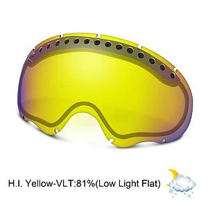 Snowboard Oakley A Frame Goggle Replacement Lens 2015 - The A Frame Replacement Lens provides 100% UV protection from harmful rays while reducing glare and offers a balanced light transmission for improved vision. They are made from a dual vented pure Plutonite material with unsurpassed impact protection and unbeatable clarity while having been treated with a specially formulated permanent coating to resist fog buildup under any circumstances. The High Intensity Yellow performs best in overcast clouds or fog and snow with blizzard like conditions and has a 81% rate of transmission. . Category: Replacement Goggle Lenses, Frame Size: Medium, Spherical Lens: Yes, Polarized: No, Photochromatic: No, Frame Size: Small/Medium, Lens Shape: Spherical, Lens Type: Non-Mirrored, Model Year: 2015, Product ID: 69504, Model Number: 02-261, GTIN: 0700285022611 - $59.92