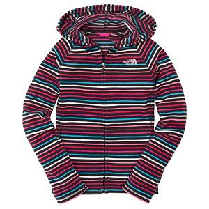 Snowboard The North Face Striped Glacier Zip Kids Hoodie - Bold and colorful horizontal stripes deliver style as well as substance to The North Face Girls Striped Glacier Full Zip Hoodie. An adaptable new fleece that is ideal for outdoor activities and just playing around, this hooded top is constructed with a line of insulation and soft-touch luxury. It's pill-resistant and quick to dry too, making it long lasting and ideal for travel destinations. Extra details include kangaroo-style pockets for warming up hands and an embroidered The North Face logo to one side of the chest. A full-length zip and hood enable flexible wearing and make The North Face Girls Striped Glacier Full Zip Hoodie a versatile year-round choice. . Model Year: 2013, Product ID: 270510, Shipping Restriction: This item is not available for shipment outside of the United States., Water Resistant: No, Sleeve Type: Long Sleeve, Wicking Properties: No, Pockets: 1-2, Material: Synthetic, Type: Hoodies, Wind Protection: Yes, Closure Type: Hooded, Battery Heated: No, Warranty: Lifetime, Hood: Yes, Category: Light-Weight, Fleece Weight: Light, Material: Polyester, Hood Type: Fixed, Insulation Weight: 214g - $29.95