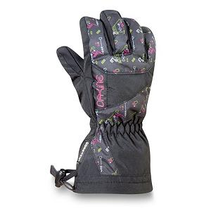 Snowboard Dakine Avenger Junior Ski Girls Ski Gloves - With a warmth index rating of 4, this pair of Avenger Junior Gloves from Dakine will keep your childs hands and fingers toasty warm throughout the day. Designed with 280g of synthetic thermoloft insulation that provides a really nice balance of comfort, warmth and durability while resisting moisture and retaining heat. This non-bulky insulation is highly breathable should the weather conditions change and warm up during your childs out in the powder. There is a one hand cinch gauntlet cuff closure that is designed to keep out the un-wanted snow from getting in through the sleeves. The well designed weather shield nylon shell fabric has been treated with a durable water repellent (DWR) finish that acts as a barrier to moisture. If your child is a beginner the durathane palms are highly abrasion resistant and soft. This premium synthetic palm material has extreme durability, grip and waterproofing combined to hold up to the toll ropes and beyond. With the pre-curved finger construction the palm pattern has been designed to fit the hands in the relaxed position making it easy to grip your board, hold onto ski poles while also providing easy dexterity for your child to un-zip zippers, get into pockets easily all with comfort, style. performance and a great fit that allows for blood flow to the fingers, leading to warmer hands each time that they are worn. . Removable Liner: No, Material: Weathershield Nylon, Warranty: One Year, Battery Heated: No, Race: No, Type: Glove, Use: Ski/Snowboard, Wristguards: No, Outer Material: Nylon, Waterproof: Yes, Breathable: Yes, Pipe Glove: No, Cuff Style: Over the cuff, Down Filled: No, Model Year: 2012, Product ID: 244668 - $27.95
