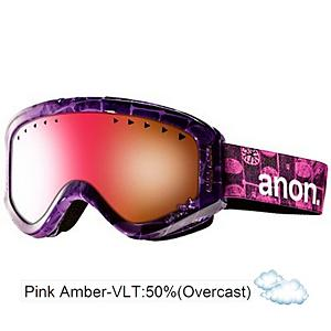 Snowboard Anon Tracker Girls Goggles - The Anon Girls Tracker Goggles will provide your little one with optical clarity all day out on the mountain. Full perimeter channel venting insures maximum airflow to give your little one clear, fog-free vision in every condition to super bright sun, to a crazy hail storm. The sun will also stay out of her eyes as the Tru-V lens technology offers her 100 percent UV protection from the sun's harmful UV rays, insuring her little peepers don't get damaged from the bright sun. The Anon Tracker is also helmet compatible which will create a proper fit to eliminate gaper gap and maximize ventilation airflow so she can hit the slopes all day without worrying. Dual layer face foam utilizes a moisture wicking fleece that provides her a perfect goggle to face fit that will seal out the elements and provide her with comfort for hours. . Race: No, Category: Girls, OTG: No, Comes w/ Case: No, Special Feature: No, Frame Size: Small, Spherical Lens: No, Polarized: No, Photochromatic: No, Rubberized Strap: No, Helmet Compatible: Yes, Frame Size: Small, Lens Shape: Spherical, Lens Type: Non-Mirrored, Model Year: 2013, Product ID: 283572 - $29.90