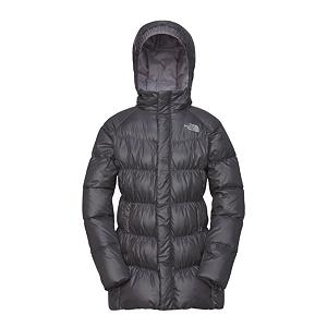 Snowboard The North Face Transit Down Kids Jacket - The North Face Transit Down Jacket is an ideal transitional jacket to throw on at the lodge or for a trek in freezing conditions, this 550 fill down-insulated coat delivers plush warmth for any outdoor excursion. Resting at top of thigh, this long cut creates an extended cover for added warmth. Removable hood adjusts to variable conditions. This jacket will keep any young lady looking good and warm when playing at school or joining any outdoor activities. Features: ID label, Zip and snap front closure . Exterior Material: Polyester, Softshell: No, Insulation Weight: 550 Fill, Taped Seams: Critically Taped, Waterproof Rating: N/A, Breathability Rating: N/A, Pit Zip Venting: No, Pockets: 1-3, Electronics Pocket: No, Goggle/Sunglasses Pocket: No, Powder Skirt: No, Hood: Yes, Warranty: Lifetime, Use: Street, Battery Heated: No, Race: No, Rain Jacket: No, Type: Insulated, Cut: Regular, Length: Long, Tall: No, Insulation Type: Down, Waterproof: Not Specified, Breathability: Not Specified, Cuff Type: None, Wrist Gaiter: No, Waterproof Zippers: Yes, Wind Protection: No, Cinch Cord Bottom: No, Model Year: 2013, Product ID: 228856, Shipping Restriction: This item is not available for shipment outside of the United States. - $129.95