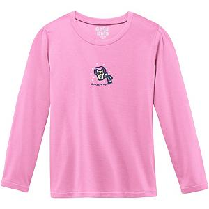 Snowboard Life Is Good Sleep Tee Long Sleeve Girls Shirt - The Life is Good Sleep Tee Long Sleeve Shirt will keep your little girl cozy warm when she's asleep in her bed. She will never want to get out of bed while wearing this 100% flame resistant poly shirt. With its cute puppy graphic on the front, the little girl in your life will make this one of her favorite long sleeve shirts of all time. . Hood Type: None, Material: 100% Flame Resistant Poly, Fleece Weight: None, Category: Light-Weight, Hood: No, Warranty: Lifetime, Battery Heated: No, Type: Crew/Mock Top, Wind Protection: No, Type: Tees, Material: Synthetic, Pockets: None, Wicking Properties: No, Type: Long Sleeve, Water Resistant: No, Model Year: 2013, Product ID: 269556 - $19.91