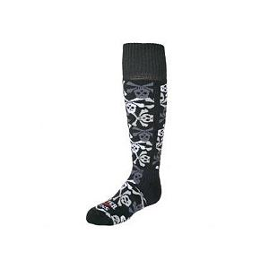 Snowboard Hot Chillys Pirates Med Cushion Kids Ski Socks - The Hot Chillys Pirates Med Cushion Kids Ski Socks will be a boys favorite sock to wear under their boot without bulk that keeps them warm and comfortable and having long wearing quality. Made with soft, durable yarns and blended with MTF fibers to help transfer moisture away from the foot making these socks comfortable and will hold up to wear after wear. Hot Chillys Pirates Kids Ski Socks features hi-tech elements and a splash of fun. . Model Year: 2010, Product ID: 275320, Weight: Mid, Type: Ski, Material: Synthetic, Battery Heated: No - $18.00