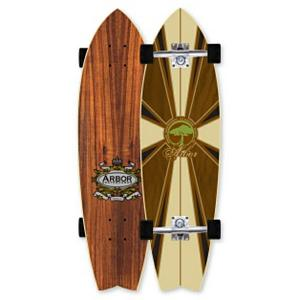 Snowboard Arbor GB Sizzler Complete Longboard - Designed with a wide profile and a tight wheelbase the Arbor GB Sizzler Complete Longboard is a sized down swallowtail. This longboard was designed with more room in the tail so that your back foot will get better contact and improved comfort. This board is perfect for tight down the line slashes. The wood construction of this board makes it lightweight and comes with a Lucid grip and water based finishes that won't pollute the air that we breathe. Recycled plastic risers on the GB Sizzler also adds to the environmentally friendly traits of this complete longboard. . Bearing Type: ABEC 5, Wheel Size: 63mm, Truck Width: Gullwing Pro III 8.75, Deck Width: 9.00in, Deck Length: 31.70in, Model Year: 2012, Product ID: 283984 - $119.96