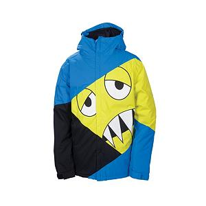 Snowboard 686 Snaggleface Mens Insulated Snowboard Jacket - The Snaggletooth collection by 686 presents the Snaggleface Mens Insulated Snowboard Jacket designed specifically for men. This collection is a one-of-a-kind collection that stands out from any other and is geared towards the individuals that do not want ordinary. The Snaggletooth character art work appliques and the color-blocked body will get you noticed on the slopes or in the pipe while making on-lookers smile and then laugh. Designed with high end fabrics and features this Snaggleface Jacket will provide the warmth and protection needed under any weather condition. The outer shell is made of 100% nylon oxford with nylon taffeta, poly brushed and peached tricot along with poly mesh for the lining. The breathability and waterproof rating is moderate with an adjustable powder skirt and critically taped seams to keep water and moisture from reaching your core. Not only will you make a statement while out boarding or skiing you will also be protected, warm and comfortable with a style of your own each time this Snaggleface Jacket is worn. Features: Laminated weather guard hood brim, 3-in-1 single pull hood draw cord adjustment, Hand warmer front hip pockets, Hidden credit card, ID pocket, Adjustable cuff closure with gusset. Exterior Material: Nylon oxford, Insulation Weight: 80 Grams, Taped Seams: Critically Taped, Waterproof Rating: 8,000mm, Breathability Rating: 5,000g, Hood Type: Fixed, Pit Zip Venting: Yes, Pockets: 6-7, Electronics Pocket: No, Goggle/Sunglasses Pocket: Yes, Powder Skirt: Yes, Warranty: Three Year, Use: Snowboard, Battery Heated: No, Race: No, Type: Insulated, Jacket Fit: Regular, Length: Long, Insulation Type: Synthetic, Waterproof: Mild Waterproofing (5,001 - 10,000mm), Breathability: Low Breathability (< 5,000g), Cuff Type: Velcro, Wrist Gaiter: Yes, Waterproof Zippers: No, Cinch Cord Bottom: Yes, Insulator: Yes, GTIN: 0883510192911, Model Number: L2W122 BLU S, Hood: Yes, Product ID: 292287, - $99.93