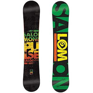 Snowboard Salomon Pulse Snowboard - The Salomon Pulse snowboard is a smooth riding ruler for the snowboarder on a budget. The Salomon Pulse is layered with value and easy to ride for any level of snowboarder. Super flat profile allows for catch-free smoothness in and out of turns and with a mellow flex can dominate park features. The extruded base will offer a long lasting glide that will prove to be low-maintenance. An aspen wood core adds some pop coming out of the corners and extended durability. With the BA LD construction, the Pulse is light but will retain its forgiving flex for just about forever. Remember those first days with lingering fondness and leave the rental boards for people who like to wait in lines. The Salomon Pulse is the Most Valuable Player. . Skill Range: Beginner - Intermediate, Model Year: 2013, Skill Level: Beginner, Gender: Mens, Product ID: 281894, Warranty: Two Year, Base Material: Extruded P-tex, Magnatraction: No, Hole Pattern: Standard 4 Hole, Construction Type: Sidewall Construction, Core Material: Wood, Rocker Type: Super Flat, Board Width: Regular, Pipe Oriented: No, Flex: Soft, Shape: Directional Twin, Rocker Profile: Flat, Special Features: ABS Suspension, Stance Setback: 10mm Back, Stance Width: 18-25in, Waist Width: 247mm(152cm), Recommended Use: All-Mountain, Core Name: Aspen, Base Name: Extruded, Actual Turn Radius @ Specified Length: 7.9m@(152cm) - $149.96