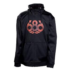 Snowboard 686 Icon Bonded Tech Fleece Hoodie - Add some style and flair to your clothing collection with the 686 Icon Bonded Tech Fleece Hoodie. This hoodie is made with jersey knit with bonded brushed fleece backing that makes the Icon Bonded Tech Fleece soft and comfortable that will feel good on your body. This full zip hoodie is great for layering as you can wear it over a t-shirt on those early fall days and its light and comfortable enough to fit under your heavy winter jacket. A hidden iPod stash pocket on the 686 Icon Bonded Tech Fleece Hoodie allows you to jam to your favorite tunes while sporting this stylish hoodie. . Hood Type: Fixed, Material: Poly Knit Jersey Face with Bonded Brushed Fleece Back, Hood: Yes, Warranty: One Year, Battery Heated: No, Closure Type: Full Zip Top, Wind Protection: No, Type: Hoodie, Material: Bonded Fleece, Pockets: 1-2, Wicking Properties: Yes, Sleeve Type: Long Sleeve, Water Resistant: Yes, Model Year: 2013, Product ID: 292310 - $49.95