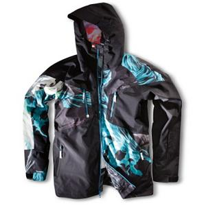 Snowboard Quiksilver Travis Rice Gore-Tex Mens Shell Snowboard Jacket - The Quiksilver Travis Rice Gore-Tex Snowboard Jacket has got a pretty cool style as well as features to keep you warm and comfortable when you head out to the mountain. Gore-Tex is one of the shining stars of this jacket as it provides you with unprecedented breathability as well as waterproofness so that you stay dry when the snows come in sideways. It has a Uni-Suit Zip System so you can keep the snow out if and when you take a tumble. You'll have tons of pockets for storage including ones for your goggles and an internal media pocket so you're never far from sending a text or listening to your latest playlist. Ergonomic Elbows make for easier mobility so you can accomplish all you want in the park when wearing the Quiksilver Travis Rice Gore-Tex Snowboard Jacket. Features: Glove Loops and Key Clip, Ergonomic Elbows. Powder Skirt: Yes, Warranty: One Year, Cuff Type: Velcro, Wrist Gaiter: No, Waterproof Zippers: No, Cinch Cord Bottom: Yes, Model Year: 2012, Product ID: 296572, Insulator: No, Breathability: Not Specified, Waterproof: Not Specified, Insulation Type: None (Shell), Length: Medium, Cut: Regular, Type: Shell, Race: No, Battery Heated: No, Use: Snowboard, Hood: Yes, Goggle/Sunglasses Pocket: Yes, Electronics Pocket: Yes, Pockets: 6-7, Pit Zip Venting: No, Hood Type: Fixed, Breathability Rating: Gore-Tex, Waterproof Rating: Gore-Tex, Taped Seams: None, Insulation Weight: N/A, Exterior Material: 100% Polyester Printed Plain Weave Shell, Gore-Tex Membrane - $249.95