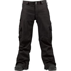 Snowboard Burton Cargo Mens Snowboard Pants - The Burton Cargo Snowboard Pants is a classic go-to pant that has all you need to stay comfortable and allow you to ride with all the necessities. These snowboard pants are loose-fitting but not too baggy so you can layer up when the temperatures hover around that zero degree mark. You'll have a DRYRIDE Durashell 2L Fabric which has technical weather proofing and breathable properties to help combat the cold and snow without making you feel bunched up. There is both a Mapped with Mesh Lining and Taffeta Lining to help wick moisture away and allow for breathability to keep you feeling comfortable. If you find that you are heating up you can always utilize the Test-I-Cool Zipper with Crossflow Venting which will bring in some fresh air and keep you feeling fresh. There is abrasion resistant Anti-Scuff Cuffs for greater durability. With plenty of pockets to keep the essentials nearby and all the comfort you can expect from Burton, you'll love these classy Cargo Snowboard Pants. Features: Mapped with Mesh Lining. Exterior Material: DRYRIDE Duracell 2-Layer Fabric, Softshell: No, Insulation Weight: 40 Grams, Taped Seams: Fully Taped, Waterproof Rating: 10,000mm, Breathability Rating: 10,000g, Full Zip Sides: No, Thigh Zip Venting: Yes, Suspenders: None, Articulated Knee: Yes, Cargo Pockets: Yes, Warranty: One Year, Race: No, Waterproof: Moderately Waterproof (5000mm-19,999mm), Breathability: High Breathability (9000g-15,000g), Use: Snowboard, Type: Shell, Cut: Regular, Lining Material: Taffeta Lining, Waist: Beltloops, Pockets: 5-6, Model Year: 2013, Product ID: 289080, Shipping Restriction: This item is not available for shipment outside of the United States. - $164.95