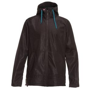 Snowboard Quiksilver Hoody 5k Snowboard Mens Soft Shell Jacket - The Quiksilver Hoody 5K Snowboard Softshell Jacket is a great way to combat the cold air when the winds start howling. This softshell jacket offers up a 5k waterproof rating meaning that the wintry precipitation stays on the outside. This breathable Hoody will help keep you warm and is breathable so that you won't feel stifling hot inside of it. There are a couple of pockets on the front for carrying a few things that you might want to have nearby too. Next time you head out on the mountain make sure you're wearing the Quicksilver Hoody 5K Softshell Jacket and stay warm, dry and comfortable for the duration of the time that you're flying through the trails. . Insulation Weight: N/A, Taped Seams: None, Waterproof Rating: 5,000mm, Breathability Rating: 5,000g, Warranty: One Year, Battery Heated: No, Race: No, Cut: Regular, Length: Medium, Insulation Type: None (Shell), Waterproof: Moderately Waterproof (5000mm-19,999mm), Breathability: Moderate Breathability (4000g-8999g), Waterproof Zippers: No, Wind Protection: Yes, Model Year: 2012, Product ID: 296558, Insulator: No, Cinch Cord Bottom: Yes, Wrist Gaiter: No, Cuff Type: Velcro, Type: Softshell, Hood: Yes, Powder Skirt: No, Goggle/Sunglasses Pocket: No, Electronics Pocket: No, Pockets: 1-3, Pit Zip Venting: No, Hood Type: Fixed, Softshell: Yes, Exterior Material: 100% Polyester Printed Softshell - $59.95
