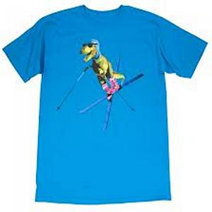 Snowboard Air Blaster T-Rex 2 T-Shirt - Everyone thought all of the dinosaurs were extinct. Will it turns not all of them, T-Rex has been chilling in the Swiss alps on his skis throwing down with woolly mammoths and saber tooth tigers. Super extra soft cotton blended with polyester make this an ideal shirt to rock. . Material: 51% Cotton and 49% Polyester, Battery Heated: No, Type: Tees, Weatherproof: No, Material: Synthetic, Model Year: 2013, Product ID: 293077 - $24.99