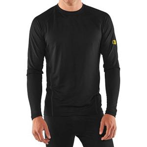 Snowboard Under Armour Base 1.0 Crew Mens Long Underwear Top - Pull on this Under Armour Men's fitted Base 1.0 Crew Long Underwear Top for early spring runs. Under Armour's thermal grid fabric looks sort-of like a computer keyboard, the grid-channel troughs trap air and cuts down on the amount of yarn, so this Base 1.0 Crew feels light, wicks, and dries quickly. This long-sleeve top also neutralizes odor-causing microbes with Under Armour's ArmourBlock technology, so you won't smell like a sweaty horse after your training run. The flatlock seaming feels very smooth against your skin while preventing chafing. You will also be 100% protected from the wind due to the windproof laminate that has been built in to this base layer for your convenience and comfort. . Fit: Tight, Warranty: Lifetime, Material: Synthetic, Weight: Light, Type: Top, Neck: Crew, Model Year: 2013, Product ID: 290099, Model Number: 1230803 001 SM, GTIN: 0886450343771 - $34.92