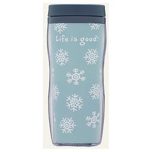 Snowboard Life Is Good Acrylic Snowflake Travel Mug - Are you looking for a Travel Mug that will hold any type of beverage? This Acrylic Life is Good Mug has a fashionable snowflake design. On the inside the liner is colorful and decorated. You will enjoy this lightweight and durable mug to take along anywhere! . Model Year: 2013, Product ID: 269575 - $20.00