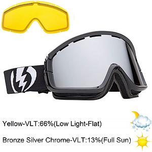 Snowboard Electric EGB2 Goggles - The EGB2 goggles from Electric were developed and contoured for large to medium faces while maintaining the simplistic yet functional design. The EGB2 simply put has the widest peripheral vision for a cylindrical goggle. Shielded against harmful UVA/UVB rays with the 100% protection, also helps reduce eye fatigue from harsh, continuous sunlight. The EGB2 also comes complete with a FREE Bonus Lens. Featuring an ergonomic, mold injected thermo-plastic urethane frame and a dual cylindrical polycarbonate lens. Electric has taken all the design cues from our premium spherical collection and transformed them into an understated, less is more design philosophy. You get the same cold-weather flexibility and anti-fog protection with an additional anti-scratch hard coating that any daredevil can appreciate. The dual lenses offer a thermal barrier against the elements that keep your face dry, warm and well protected. The triple density face foam lined in a cozy fleece hugs your contours! This goggle is an overachiever and will outperform all expectations of a basic goggle! Features: Contoured Triple Layer Face Foam, Articulating Strap For Helmet Compatibility. Race: No, Category: Adult, OTG: No, Comes w/ Case: No, Special Feature: No, Frame Size: Large, Spherical Lens: No, Polarized: No, Photochromatic: No, Rubberized Strap: No, Helmet Compatible: Yes, Spare Lens Included: Yes, Frame Size: Medium, Lens Shape: Flat, Lens Type: Mirrored, Model Year: 2013, Product ID: 283201 - $49.88
