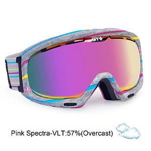 Snowboard Spy Bias Womens Goggles - Sleek, low profile and an elegant design detail are just a few ways to describe the womens Spy Bias Snow Goggle. This goggle is specifically designed for smaller faces with a reduced frame size. The Spy Bias Snow Goggle gives you clean design and superior optical performance. ARC Spherical lenses have a consistent vertical and horizontal curve in the lens maximizing multiple fields of view. The lenses are also de-centered, meaning thicker in the middle and tapering towards the edges, eliminating distortion and allowing true clarity. This Spy Bias Snow Goggle provides you with the Scoop system which forces air through strategically placed vents of varying aperture on the goggle frame to shut down fog. The Spy Bias Goggle is a womens best friend on the mountain. Features: 6-Base ARC spherical dual lens with anti-fog and anti-scratch protection. Race: No, Category: Womens, OTG: No, Comes w/ Case: No, Special Feature: No, Frame Size: Medium, Spherical Lens: Yes, Polarized: No, Photochromatic: No, Rubberized Strap: Yes, Helmet Compatible: Yes, Frame Size: Small, Lens Shape: Spherical, Lens Type: Mirrored, Model Year: 2013, Product ID: 283279 - $69.88