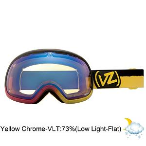 Snowboard Vonzipper Fishbowl Frosteez Goggles - The Fishbowl Frosteez from VonZipper is at the top of the goggle food chain. The Fishbowl features a thermo-polyurethane injection molded frame that remains flexible even in the coldest conditions. It also features a supersized dual spherical polycarbonate lens with Barricade anti-fog and hard coating and for optically correct, distortion free vision. The frame and lens on this goggle are huge providing you with maximum peripheral vision. Believe it or not even a goggle as big as the Fishbowl is helmet compatible, so you can look good and stay safe all at the same time. Add in a polar fleece lined, triple density face foam and you have a super comfortable and flexible goggle for any snow condition. The Frosteez graphics will turn your sundae into a fundae. Be the biggest fish in the pond with the Fishbowl from VonZipper. Features: Microfiber Goggle Bag Included. Race: No, Category: Adult, OTG: No, Comes w/ Case: No, Special Feature: No, Frame Size: Large, Spherical Lens: Yes, Polarized: No, Photochromatic: No, Rubberized Strap: Yes, Helmet Compatible: Yes, Product ID: 283644, Model Year: 2013, Lens Type: Mirrored, Lens Shape: Spherical, Frame Size: Large - $89.90