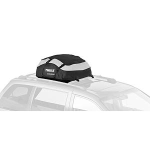 Snowboard Thule Caravan Soft Cargo Bag - The Thule Caravan 857 roof top cargo bag has PVC free construction along with a 13 cubic foot capacity. Conveniently haul your extra gear in the durable yet environmentally friendly Thule Caravan roof top bag. This car top carrier has a weather resistant PVC-free nylon construction with taped seams to help keep up to 13 cubic feet of cargo dry. It easily attaches to Thule racks, round bars, and most factory ramps with heavy duty snap buckles. When not in use, this roof cargo bag quickly collapses down and fits into a carrying bag. Pack it full of luggage and camping gear to free up space in your rig. Features: Lateral compression straps keep bag and contents secure., Storage capacity of a cargo box without the storage dilemma., Stores 13 cubic feet of cargo. Box Opening: Single Side, Mount Type: Roof, Model Year: 2013, Product ID: 47077, Shipping Restriction: This item is not available for shipment outside of the United States. - $98.95