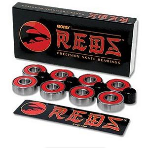 Snowboard ESS Bones Red Skateboard Bearings - BONES - Bones Reds bearings in 8pack. Regular 608 bearings. Bones Reds are the best economy priced bearings you can buy. Reds were developed to be an affordable alternative to Bones Swiss and feature ground and super finished chromium steel balls and races, a high speed Nylon ball retainer, Speed Cream lubricant and a non-contact red rubber shield. This combination of quality components and careful quality control makes them faster, smoother and longer lasting than any other bearing in their price range, so let the good times roll. Features: Requires two packages for a pair of skates. Model Year: 2012, Product ID: 23650 - $19.95