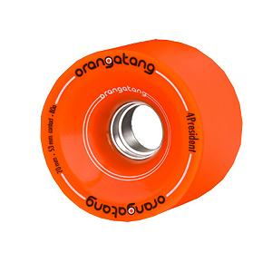 Snowboard Orangatang 4 President Race W/Alum Skateboard Wheels - The Orangatang 4 President Race W/Alum Skateboard Wheels are intended for the high speed downhill skater. The Aluminum Core Orangatang 4 President wheels are a limited run wheel designed to have a more even wear pattern and maintain higher rolling speeds than their non-aluminum counterparts. If you're looking to hit higher speeds (consistently over 40 mph) these wheels would be a great choice. Features: Maintain maximum roll speed.. Model Year: 2011, Product ID: 251463 - $59.96