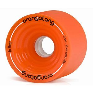 Snowboard Orangatang In Heat Skateboard Wheels - 4 Pack - The In Heat Longboard Wheels from Orangatang are designed to grip right out of the box but can slide to shed speed when you need them to. With a wide contact patch the In Heat Wheels are extremely popular for speedboarding on rough road courses. They feature an offset design with hard sharp edges for grip and thick lips for maintaining speed. Repetitive sliding wears down the sharp lips allowing for smoother slides at all speeds. . Model Year: 2013, Product ID: 272201, Model Number: WIH7580 - $54.00
