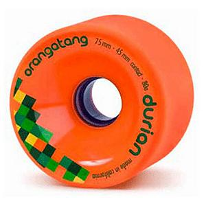 Snowboard Orangatang Durian Skateboard Wheels - 4 Pack - For a consistent and predictable ride the Durian Skateboard Wheels from Orangatang have a stone ground surface right out of the box. A relatively wide contact patch and offset design make the Durian wheels sticky yet easy to slide. The rounded lips on these wheels will keep you from getting caught up while sliding and the balanced lip flex reduces chatter when sliding. The wheel is intended to build confidence with their predictability and elevate the current caliber of freeride longboarding. . Model Year: 2013, Product ID: 272203, Model Number: WDU7580 - $54.00