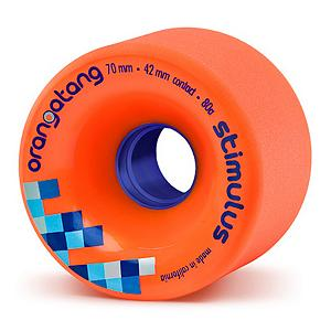 Snowboard Orangatang Stimulus Skateboard Wheels - 4 Pack - Standing 70mm tall with a contact patch ( width of wheel in contact with ground) of 42mm. The Orangatang Stimulus wheels are offset and intended for grippy, hard carving, and consistent controlled slides. Also featuring Double rounded lips, and a stone ground / pre-broken in surface for smooth slides right out of the box, the Stimulus is a great wheel for hard charging longboarders who just want to go fast and shred hard. . Model Year: 2013, Product ID: 272208, Model Number: WST7080 - $52.00