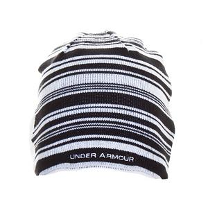 Snowboard Under Armour Striped Hat - The Under Armour Striped Beanie makes a statement of boldness, comfort and quality as you stand out in a crowd making a statement of your own. The Coldgear protection wicks moisture from the skin and circulates body heat, keeping you warm and cozy. This Acrylic jacquard stripe beanie is lined with Under Armour moisture wicking mesh lining. Topping this awesome beanie off with the Under Armour Logo, large and blended into the striped design for an extreme sweet look. . Warranty: Lifetime, Model Year: 2012, Product ID: 243697, Type: Beanie, Lined: Yes, Material: Synthetic, Battery Heated: No - $19.99