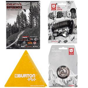 Snowboard Burton Gift Pack - A sweet gift for the shredder in the family, this Burton Gift Pack contains the essentials when heading out to the mountain. Included are a RED Tri-Scraper, 2 RED Stomp Pad, a RED Leash, and a Creative Differences Snowboard DVD. The Tri-Scraper is shaped like a triangle which is perfect when removing the wax off the board. The Ruled Edge and Edge-Scraping Corner Notch makes this RED Tri-Scraper a unique piece of equipment and a must have for all riders. The corner notch makes it super easy to remove any of those pesky wax drips from your edges for a clean ride. The RED Stomp Pads is sleek in style and an attention-grabbing deck grip when you hop off the lift. It provides easy navigation through skiers and riders at the peak of the mountain. Of course you don't want your board getting away from you, the RED Coil Leash just needs a quick tightening up, a snap of buckle and you're secure. Finally, the Creative Differences Snowboard DVD is an all-around riding spectacular. It doesn't focus on one aspect of the art of shredding, it features the best of the mountain doing it all. Whether you're treating yourself to a gift or getting it for the rider in the family, the Burton Gift Pack is a great accessory to any snowboarders tool kit. . Product ID: 215154, Shipping Restriction: This item is not available for shipment outside of the United States. - $69.99