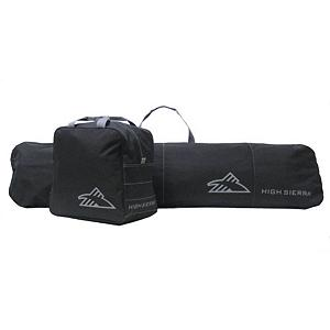 Snowboard This combination snowboard and ski bags will help to keep all of your items together and secure.  It does not matter if you are traveling to the local slopes or going on a longer trip to the big ski or snowboard resorts.  The material of these bags are made of durable 600 Denier Duralite with a water resistant PVC coating that will  keep your gear dry, safe and organized.  The sturdy webbing handles and straps are reinforced to handle heavy gear.  They are also easy to carry and comfortable.  The durable, non corrosive  plastic hardware ensures that these bags will endure through any condition.  Boot Bag Dimensions is 15.25in x 16in x 10in,  Snowboard bag dimensions 18in x 65in,  Full color box packaging,  Contrasting stitching,  Boot bag holds a single pair of snowboard boots up to size 13,  Snowboard sleeve has a zippered opening and holds a single snowboard up to 165 cm,  Three quarter length, self repairing nylon coil zipper,  Easy to wipe clean,  Lightweight and durable,  GTIN: 0040176405353, Model Number: 53876-1050, Product ID: 134808, Model Year: 2016, Wheeled: No, Degree of Padding: None, ID Tag: No, Size Dimensions: 18in x 65in, Padded Inside: None, Exterior Pockets: No, Weight of Bag: 3.0 lbs, Material: Nylon, Warranty: One Year, Max Board Size: 165cm - $29.94