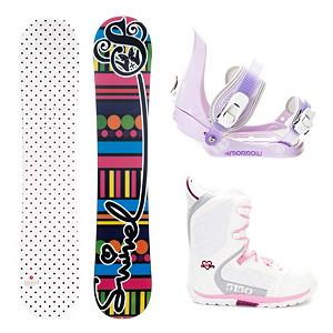 Snowboard Swivel Polka Dots Girls Snowboard Package - If you're looking for a great snowboard for your beginner to intermediate rider at a great price, look no further! The Swivel Polka Dots Girls Snowboard is a great choice for just about any girl on the mountain. The soft flex pattern makes it very forgiving to ride, so it is great for beginners. The cap construction sidewall lightens up the board a bit, helping your little one excel in her riding. A binding for groms that are riding with the big boys, the Morrow Slider is small for kids but big in performance. They feature a tool-less forward lean adjustment which allows you to adjust them quickly and easily for that customized heel edge power. The 360 degree disc mount gives you multiple options for your stance and they also feature a quick and easy to use aluminum ratchet buckles. The 5150 Brigade Snowboard boots offers smaller fit a fit like no other, the Brigade snowboard boot is a high performance snowboard boot made specifically for the Young guns. The durable Sidewinder outsole design features ultimate cushion and traction. (Please note that since this is a package item, it may be shipped in multiple packages from different locations. In some cases, your items may arrive on different days and/or from different carriers.) . Recommended Use: All-Mountain, Snowboard Rocker Profile: Camber, Package Type: Board, Boots, and Bindings, Skill Range: Beginner - Intermediate, Product ID: 257570, Gender: Girls, Skill Level: Beginner - $179.99
