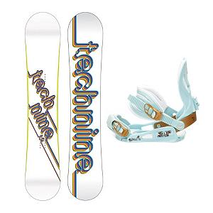 Snowboard Tech Nine T9 White SLNC III Womens Snowboard and Binding Package - Following the pedigree of other Technine TransWorld good wood winners, the T9 White snowboard is built for fun and function. Stability and performance is the name of the game and the medium-to-soft flex offers the versatility needed to win it. The T9 White is buttery and playful but serious enough to take your riding to the next level. The Salomon Spell binding puts a whole new meaning to the word magic. The SNLC III is a great beginner binding for someone looking to do some all-mountain riding. This binding features aluminum heel cups and plastic anatomical base plates. The SNLC III comes with a standard 2x4 hole base plate disc and is compatible with most boards. . Recommended Use: Freestyle, Bearing Grade: Recreational, Snowboard Rocker Profile: Camber, Package Type: Board and Bindings, Skill Range: Beginner - Advanced Intermediate, Product ID: 294071, Gender: Womens, Skill Level: Beginner - $149.91