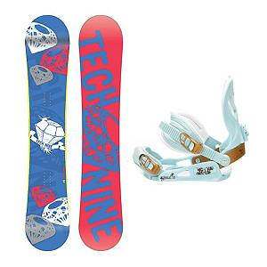 Snowboard Tech Nine Diamond Blue SNLC II Womens Snowboard and Binding Package - The Technine Diamond Blue snowboard is an all-mountain directional freestyle that gives the up-and-coming rider the upper hand. A stable shape and soft flex gives you lightning edge-to-edge power for linking turns and the full wood core makes the Diamond lightweight and easy to ride. From a day of riding chairs with your friends to a mellow afternoon hike, the Diamond Blue will shine in any situation. The SNLC III is a great beginner binding for someone looking to do some all-mountain riding. This binding features aluminum heel cups and plastic anatomical base plates. The SNLC III comes with a standard 2x4 hole base plate disc and is compatible with most boards. . Recommended Use: All-Mountain Freestyle, Snowboard Rocker Profile: Camber, Package Type: Board and Bindings, Skill Range: Beginner - Advanced Intermediate, Product ID: 294077, Gender: Womens, Skill Level: Beginner - $199.99