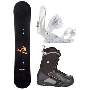Snowboard Firefly Rampage EX C30 Complete Snowboard Package - When you are ready to tear up the mountain pick up the Firefly Rampage Snowboard Package. A fun beginner board for the guy looking to shred this winter, the Rampage Firefly Snowboard will get you up on your feet and make learning the ways of the mountain simple and fun. After shredding up the slopes, you can take it over to crush the park. This board has a medium flex making it the perfect all mountain board. This package also features the versatile and durable Ride EX binding. The EX features Ride's the Foundation chassis to provide all-mountain mid-flex performance and the Wedgie 1.5 footbed that has a subtle angle to provide the perfect mix of comfort and support. Combined with the ThinGrip toe strap and the ComfortFlex highback, you won't find a better value for any level of rider. The soft flexing CYCAB C30 boots round out this package. They feature a removable liner that will provide you with a better fit and warmth to keep your toes toasty warm. A traditional lacing system allows you to get an old school way to get the fit you desire. The CYCAB C30 is a cheaper way to get yourself on the mountain for some awesome snowboard shredding. . Recommended Use: All-Mountain, Snowboard Rocker Profile: Camber, Package Type: Board, Boots, and Bindings, Product ID: 294350, Gender: Mens - $299.99