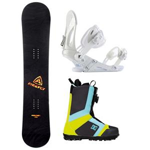 Snowboard Firefly Rampage EX Scout Complete Snowboard Package - When you are ready to tear up the mountain pick up the Firefly Rampage Snowboard Package. A fun beginner board for the guy looking to shred this winter, the Rampage Firefly Snowboard will get you up on your feet and make learning the ways of the mountain simple and fun. After shredding up the slopes, you can take it over to crush the park. This board has a medium flex making it the perfect all mountain board. This package also features the versatile and durable Ride EX binding. The EX features Ride's the Foundation chassis to provide all-mountain mid-flex performance and the Wedgie 1.5 footbed that has a subtle angle to provide the perfect mix of comfort and support. Combined with the ThinGrip toe strap and the ComfortFlex highback, you won't find a better value for any level of rider. Rounding out this package is the pro style DC Scout boots. They feature the easy and convenient BOA lacing system which will have you laced up with the flick of your wrist and are super easy to get out of. The Scout is also designed with Uni Lite which provides traction, durability, dampening and cushioning all while reducing the weight of the boot. The Scout was built with a medium flex so that you can take every inch of the hill and every rail and box that comes your way as well. So get the freedom of skate shoes with the Scout snowboard boots from DC. . Recommended Use: All-Mountain, Snowboard Rocker Profile: Camber, Package Type: Board, Boots, and Bindings, Skill Range: Beginner - Advanced Intermediate, Product ID: 294414, Gender: Mens, Skill Level: Beginner - $349.99