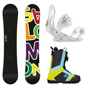 Snowboard Salomon Drift Rocker Wide EX Scout Complete Snowboard Package - If you want the stability of traditional camber with the catch free versatility of reverse camber then the Salomon Drift Rocker Wide Snowboard Package is for you. The Drift Rocker has been designed for improved park performance with a perfect twin shape. It also features royal rubber pads which protect your edges and make for nice soft, smooth landings. The Drift Rocker will have you getting loose with confidence on everything. Also features all black graphics for a dark, sleek look. The Salomon Drift Rocker Snowboard has a Pre-sure Rocker. Comes in wide sizes for the shredder with bigger feet. The versatile and durable Ride EX binding is included in this package. The EX features Ride's the Foundation chassis to provide all-mountain mid-flex performance and the Wedgie 1.5 footbed that has a subtle angle to provide the perfect mix of comfort and support. Combined with the ThinGrip toe strap and the ComfortFlex highback, you won't find a better value for any level of rider. The pro style DC Scout boot rounds out this package. hey feature the easy and convenient BOA lacing system which will have you laced up with the flick of your wrist and are super easy to get out of. The Scout is also designed with Uni Lite which provides traction, durability, dampening and cushioning all while reducing the weight of the boot. The Scout was built with a medium flex so that you can take every inch of the hill and every rail and box that comes your way as well. So get the freedom of skate shoes with the Scout snowboard boots from DC. . Recommended Use: Freestyle, Snowboard Rocker Profile: Rocker, Package Type: Board, Boots, and Bindings, Skill Range: Beginner - Advanced Intermediate, Product ID: 295300, Gender: Mens, Skill Level: Beginner - $404.98