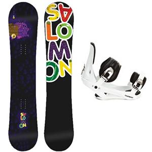 Snowboard Salomon Mini Drift Rocker C2 Junior Kids Snowboard and Binding Package - Kids just want to play in the park and they can do that with the Salomon Mini Drift Rocker Snowboard Package. This scaled down version of Salomons best-seller features a true-twin shape and jib-friendly rocker profile so young riders can spin, hop, slide, and tap the day away. Pres-Sure Rocker profiles super-soft feel and catch-free ride helps young riders progress with confidence and control. Equalizer edge shape features three straight lines instead of radial, which add grip to compensate for the softer flex. The Mini Drift has an Extruded EG base repairs easily when it gets dinged up and does not need to be waxed often. The Mini Drift Rocker allows kids to feel like an adult without the responsibility. The 5th Element Stealth is the perfect binding to get you out on the mountain without breaking the bank. This soft flexing binding is forgiving enough to accommodate any inexperienced rider, while a thick but soft flexing ankle strap provides the support and response needed to progress. Padding underfoot dampens vibration and eliminates shock, giving confidence to the entry level rider looking to take on anything. A soft foam convertible toe strap allows the rider to wear the binding over the top of the boot like a traditional strap or conforms to fit over the toe of the boot eliminating any possible pressure points and drawing the boot back into the binding. Simple, smooth gliding ratchets make for easy entry and exit, while tool-less adjustments allow you to customize this binding to any boot on the fly. Simply put, with the 5th Element Stealth Binding you can expect a lot of value at a price that won't leave your pockets empty. . Recommended Use: Freestyle, Snowboard Rocker Profile: Rocker, Package Type: Board and Bindings, Skill Range: Intermediate - Advanced, Product ID: 295392, Gender: Boys, Skill Level: Intermediate - $179.99