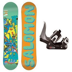 Snowboard Salomon Team Boys C2 Junior Kids Snowboard and Binding Package - Light, soft and strong the Salomon Team Boys Snowboard Package is the next level in performance for new and younger riders. Quadratic Sidecuts allow a blend of elliptic curves for easy turn initiation, effortless direction changes and fluid edge to edge transitions. Teamed up with ABS sidewalls allow for a much smoother ride and less impact felt when landing. Designed with Flat profile and built bomb-proof with durable Biaxial Density Glass construction. The Salomon Team is the board of choice for groms looking to push the envelope in freestyle progression. Added to this package is the no frills CYCAB C2 Junior binding. This binding gets the job done and works great as your kids first binding. A metal backing will offer them the support that a plastic binding just does not offer. . Recommended Use: All-Mountain Freestyle, Snowboard Rocker Profile: Flat, Package Type: Board and Bindings, Skill Range: Intermediate - Advanced, Product ID: 295398, Gender: Boys, Skill Level: Intermediate - $99.90