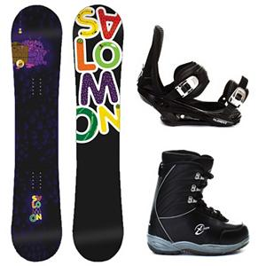 Snowboard Salomon Mini Drift Rocker Junior X-Ion Kids Complete Snowboard Package - Kids just want to play in the park and they can with the Salomon Mini Drift Rocker Snowboard Package. This scaled down version of Salomons best-seller features a true-twin shape and jib-friendly rocker profile so young riders can spin, hop, slide, and tap the day away. Pres-Sure Rocker profiles super-soft feel and catch-free ride helps young riders progress with confidence and control. Equalizer edge shape features three straight lines instead of radial, which add grip to compensate for the softer flex. The Mini Drift has an Extruded EG base repairs easily when it gets dinged up and does not need to be waxed often. The Mini Drift Rocker allows kids to feel like an adult without the responsibility. The 5th Element Stealth is the perfect binding to get you out on the mountain without breaking the bank. This soft flexing binding is forgiving enough to accommodate any inexperienced rider, while a thick but soft flexing ankle strap provides the support and response needed to progress. Rounding out this package is the soft flexing Black Dragon X-Ion boot. They feature a removable liner that will provide your little one with a better fit and warmth to keep their little toes toasty warm. The X-Ion from Black Dragon is a cheap way to get your little one started. . Recommended Use: Freestyle, Snowboard Rocker Profile: Rocker, Package Type: Board, Boots, and Bindings, Product ID: 295402, Gender: Boys - $229.99