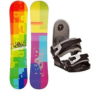 Snowboard Radical Crunchy Kids Snowboard and Binding Package - If you're looking for a great entry-level board for your little rider, the Radical Crunchy Boys Snowboard is a very good choice. This board boasts a soft flex and a camber profile so he can continue learning and growing confidently on a responsive board with very good edge hold. He will soon be carving into the mountain and testing out some new tricks. With its pop, he might feel that he can tackle some small jumps in the park. It's a new and cool board that he will love to call his own. Not to mention that his own board will allow you to get to the mountain quicker instead of stopping for a rental board that he needs to get used to. Add in the CYCAB C2 snowboard binding. The C2 gets the job done and works great as a first binding. A metal backing offers support where plastic just will not cut it. Together progression is inevitable. . Recommended Use: All-Mountain Freestyle, Snowboard Rocker Profile: Camber, Package Type: Board and Bindings, Model Year: 2013, Product ID: 301900, Gender: Boys - $149.99