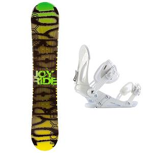 Snowboard Joyride Writing Yellow Snowboard and Binding Package - Check out the JoyRide Writing Yellow Snowboard. It's a great entry-level board for the newer rider who wants to a board to call their own. If you're just starting out or you've been renting for a bit, this Yellow Writing board will help ensure that you can progress so that you can tackle the bigger, steeper and deeper terrain with confidence. Built with a camber profile, you'll have a responsive board with a great edge hold so that you can practice and perfect those turns. There's a little bit of pop so that you can start working on new tricks for the park and attempt the jumps you want to show off. This soft flex and forgiving JoyRide Yellow Writing Snowboard is great for a beginner who doesn't want to drain the money from their wallet. Paired up with the Ride EX bindings you are going to be ahead of the curve. The Ride EX Snowboard Bindings are the pinnacle of performance value. Built for versatility and durability, the EX features Ride's the Foundation chassis to provide all-mountain mid-flex performance and the Wedgie 1.5 footbed that has a subtle angle to provide the perfect mix of comfort and support. Combined with the ThinGrip toe strap and the ComfortFlex highback, you won't find a better value for any level of rider. . Recommended Use: All-Mountain Freestyle, Snowboard Rocker Profile: Camber, Package Type: Board and Bindings, Model Year: 2013, Product ID: 302142, Gender: Mens, Skill Level: Beginner, Skill Range: Beginner - Advanced Intermediate - $179.99