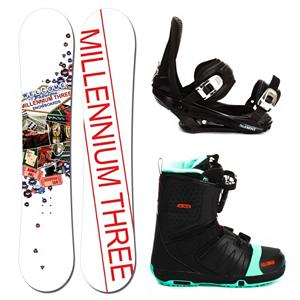 Snowboard Millenium 3 Discord Complete Snowboard Package 2013 - A fun and forgiving ride, the Millennium 3 Discord with Faction FS Boots Snowboard Package will help build your confidence so that you can soon rule the mountain you love to play on. With the Millennium 3 Discord Snowboard you can expect a forgiving and soft board to help ensure you progress confidently. It's lightweight thanks to its Woodcore so you can work your way to higher skills levels with ease. The 5th Element Stealth Bindings boast a soft flexing strap and padding underfoot to dampen vibrations and eliminate shock. This will help accustom you to varying conditions you may experience on the mountain. It's an excellent binding for the inexperience rider. The Salomon Faction FS Snowboard Boots have some great features to help make your time on the mountain more comfortable and warmer. Its Speed Powerlace System ensures quick and comfortable lacing with easy adjustment on the fly. The feel good liner will protect your toes from the cold and absorb some of the shock upon a hard landing. Salomon's AutoFit liner self-adapts to your feet's shape so you have the very best comfort all day on the mountain. The Millennium 3 Discord Snowboard Package with Faction Boots is perfect for the entry-level rider who wants to progress confidently without spending too much money. . Recommended Use: Freestyle, Snowboard Rocker Profile: Camber, Package Type: Board, Boots, and Bindings, Skill Range: Beginner - Advanced Intermediate, Model Year: 2013, Product ID: 302354, Gender: Mens, Skill Level: Beginner - $279.99