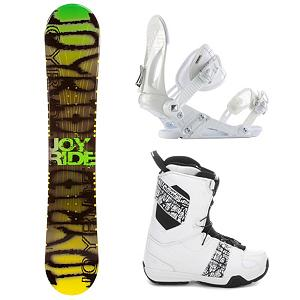 Snowboard Joyride Writing Yellow Complete Snowboard Package - The JoyRide Writing Yellow with Faction Boa Boots Snowboard Package is a great beginner package with a quality board and excellent boots to help any new rider reinforce the basic skills needed so you can truly enjoy all that the mountain has to offer. The JoyRide Yellow Writing Snowboard is a responsive board with a camber profile boasting great edge hold so you can carve more smoothly into the mountain. It has a soft flex and is very forgiving so you can progress with more confidence. You'll have the Ride EX Snowboard Bindings providing versatility and durability so that you check out various terrains on the mountain. The Faction Boa from Salomon is one vicious beast that will not bite your ankle or your budget. This boot features Salomons Coiler Boa lacing system that will have you lacing up faster than Superman. In case you want to fly like him too, a Stomp outsole and feel good liner will give you the protection and comfort you need when you stomp the landing. You will also have your feet chilling on memory foam thats more comfortable than your bed. Auto fit will self adapt to your foots shape giving you a custom fit. Go ahead, carve the pow and butter all day. Get your feet dirty because this puppy has a mystic footbed that provides gnarly natural antibacterial action. Quality and excellence shine at an unbeatable price so get a hold of the JoyRide Writing Yellow with Faction Boa Boots Snowboard Package and shred up the mountain all winter long. . Recommended Use: All-Mountain, Snowboard Rocker Profile: Camber, Package Type: Board, Boots, and Bindings, Skill Range: Beginner - Advanced Intermediate, Model Year: 2013, Product ID: 302500, Gender: Mens, Skill Level: Beginner - $329.99