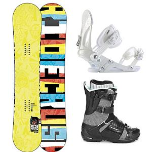 Snowboard Ride Crush Complete Snowboard Package - Fun and versatile, the Ride Crush Snowboard Package offers plenty of buttery fun along with its super smooth ride. The Crush Snowboard is a slick freestyle board that is outfitted with 85A Slimewalls made to absorb impacts and a LowRize Shape that you can take on the groomed trails or through the park. The Ride EX Bindings are durable and designed for everything on the mountain. Its Wedgie 1.5 Footbed is angled subtly so you have the perfect blend of comfort and support. The Ride Strapper AC Boots will be on your feet ensuring that you have a comfortable feel without hindering your movements. The Intuition Mobile Foam Liner is double density for the best comfort and mobility you can get and speedlaces ensure that you're on the mountain quickly with the ability to adjust and tighten up on the fly. This freestyle Ride Crush Snowboard Package is your ticket to all the best places on the mountain and in the park. . Recommended Use: Freestyle, Snowboard Rocker Profile: Rocker, Package Type: Board, Boots, and Bindings, Skill Range: Intermediate - Advanced, Model Year: 2013, Product ID: 302606, Gender: Mens, Skill Level: Intermediate - $349.99