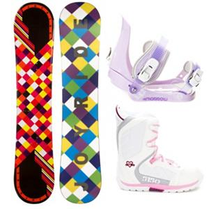 Snowboard Joyride Checkers Black Slider Brigade Girls Complete Snowboard Package - The JoyRide Checkers Black Snowboard is perfect for the little girl ready to tackle her first board. Its camber profile ensures she can have a little more control and edge hold so she can get used to the turns you need to make when traversing the mountain. It also has a little pop so she can try out some tricks that she has seen you do and wants to emulate. A great entry-level board to help increase her confidence and skill level, the JoyRide Checkers Black Snowboard is a cute and fun option. This package includes the 5th Element Stealth binding. This binding is perfect for your little one's first time on the hill. With easy adjustable tool-less straps you can fit the binding to the boot easily. Soft EVA foam provides nice padding across the boot for control and comfort. Padding on the highback allows for easier heelside turns and even more comfort for your kid. Mom and Dad can now enjoy the luxury of sipping on hot chocolate while they watch the progression of their kid unfold before their very own eyes. The 5150 Brigade Snowboard boots offers smaller fit a fit like no other, the Brigade snowboard boot is a high performance snowboard boot made specifically for the Young guns. Waterproof shell construction provides the ergonomic support they need to shred hard, while the integrated liner keeps feet warm and comfy all day. The durable Sidewinder outsole design features ultimate cushion and traction. . Recommended Use: All-Mountain Freestyle, Snowboard Rocker Profile: Camber, Package Type: Board, Boots, and Bindings, Skill Range: Beginner - Advanced Intermediate, Model Year: 2013, Product ID: 302750, Gender: Girls, Skill Level: Beginner - $179.99