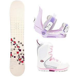 Snowboard Swivel Sparkle Stealth Brigade Girls Complete Snowboard Package - A cool and fun entry-level board for your little girl is the Swivel Sparkle Girls Snowboard. You can help your little girl progress into higher skill levels on her very own board! It has a soft flex and a camber profile so she can continue learning on a responsive board with very good edge hold. She will soon become a great carving into the mountain. She will gain the confidence to try out new tricks and, with its pop, she can even spend some time in the park. She will love having a new and cool board to call her own and this will allow you to get to the mountain quicker instead of stopping for a rental board that she needs to get used to. A great value for a new entry-level board, your little girl will love the Swivel Sparkle Snowboard. This package also includes the 5th Element Stealth binding. This binding is perfect for your little one's first time on the hill. With easy adjustable tool-less straps you can fit the binding to the boot easily. Soft EVA foam provides nice padding across the boot for control and comfort. Padding on the highback allows for easier heelside turns and even more comfort for your kid. Mom and Dad can now enjoy the luxury of sipping on hot chocolate while they watch the progression of their kid unfold before there very own eyes. The 5150 Brigade Snowboard boots offers smaller fit a fit like no other, the Brigade snowboard boot is a high performance snowboard boot made specifically for the Young guns. Waterproof shell construction provides the ergonomic support they need to shred hard, while the integrated liner keeps feet warm and comfy all day. The durable Sidewinder outsole design features ultimate cushion and traction. . Recommended Use: All-Mountain Freestyle, Snowboard Rocker Profile: Camber, Package Type: Board, Boots, and Bindings, Skill Range: Beginner - Intermediate, Model Year: 2013, Product ID: 302754, Gender: Girls, Skill Level: Beginner - $179.99