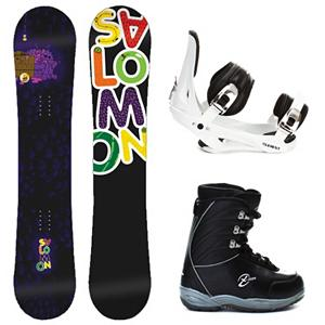 Snowboard Salomon Mini Drift Rocker Stealth X-Ion Kids Complete Snowboard Package 2013 - Kids just want to play in the park and they can with the Salomon Mini Drift Rocker Snowboard Package. This scaled down version of Salomons best-seller features a true-twin shape and jib-friendly rocker profile so young riders can spin, hop, slide, and tap the day away. Pres-Sure Rocker profiles super-soft feel and catch-free ride helps young riders progress with confidence and control. Equalizer edge shape features three straight lines instead of radial, which add grip to compensate for the softer flex. The Mini Drift has an Extruded EG base repairs easily when it gets dinged up and does not need to be waxed often. The Mini Drift Rocker allows kids to feel like an adult without the responsibility. The 5th Element Stealth is the perfect binding to get you out on the mountain without breaking the bank. This soft flexing binding is forgiving enough to accommodate any inexperienced rider, while a thick but soft flexing ankle strap provides the support and response needed to progress. Rounding out this package is the soft flexing Black Dragon X-Ion boot. They feature a removable liner that will provide your little one with a better fit and warmth to keep their little toes toasty warm. The X-Ion from Black Dragon is a cheap way to get your little one started. . Recommended Use: All-Mountain Freestyle, Snowboard Rocker Profile: Rocker, Package Type: Board, Boots, and Bindings, Skill Range: Intermediate - Advanced, Model Year: 2013, Product ID: 302762, Gender: Boys, Skill Level: Intermediate - $229.99